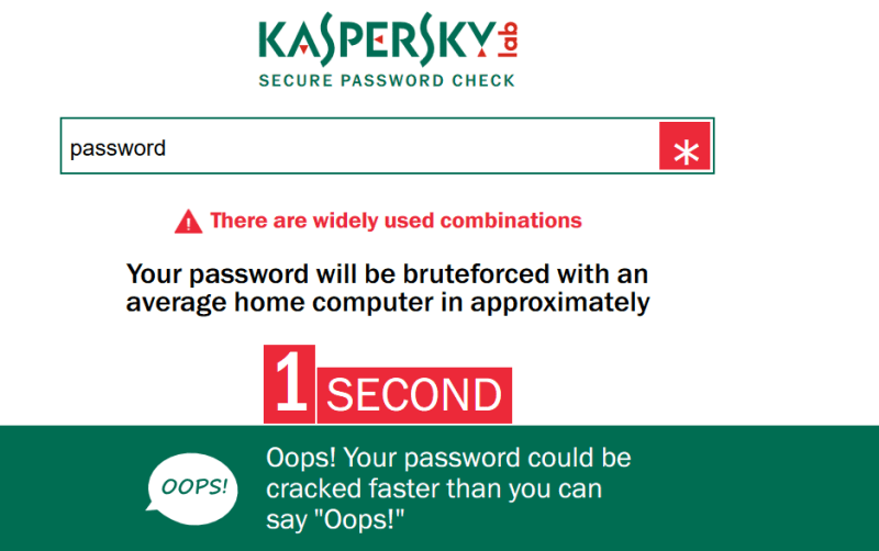 Check your password with Kasperky's Password Checker